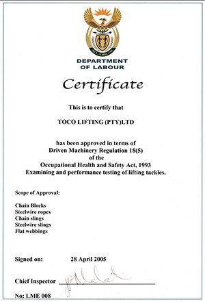 Department Of Labour Certificate