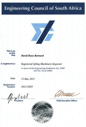 Registered Lifting Machinery Inspector